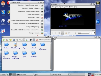 Puppy Linux 4.1 (Dingo) Running rxvt, wizard wizard, file manager, xine