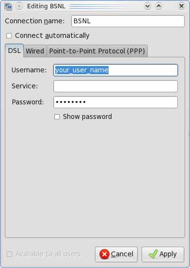 enter username and password